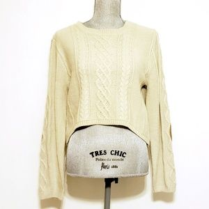 High Low Cable Knit Sweater w. Elbow Patches